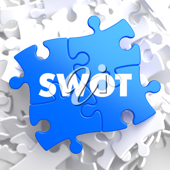 SWOT  Written on Blue Puzzle Pieces. Business Concept.