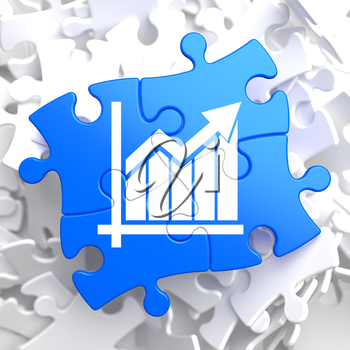 Growth Chart Located on Blue Puzzle Pieces. Business Concept.