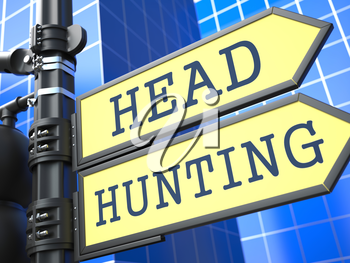 Headhunting Word on Yellow Roadsign on Blue Urban Background. Business Concept. 3D Render.