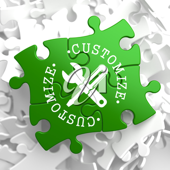Customize Written Arround Icon of Crossed Screwdriver and Wrench on Green Puzzle Pieces. Service Concept.