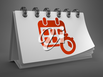 White Desktop Calendar with Red Icon of Calendar with Timer on Gray Background. Time Concept.