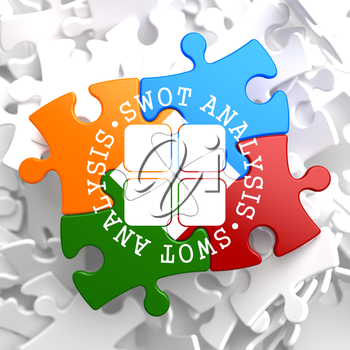 SWOT Analisis Written Arround Icon on Multicolor Puzzle. Business Concept.