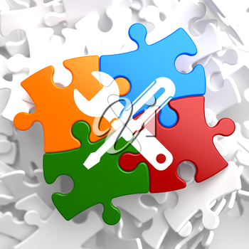 Service Concept - Icon of Crossed Screwdriver and Wrench - Located on Multicolor Puzzle. Business  Background.