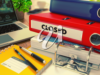 Red Office Folder with Inscription Closed on Office Desktop with Office Supplies and Modern Laptop. Business Concept on Blurred Background. Toned 3d Image.