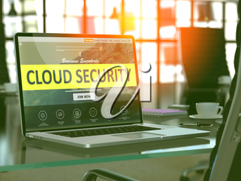 Cloud Security Concept Closeup on Laptop Screen in Modern Office Workplace. Toned Image with Selective Focus. 3d Render.