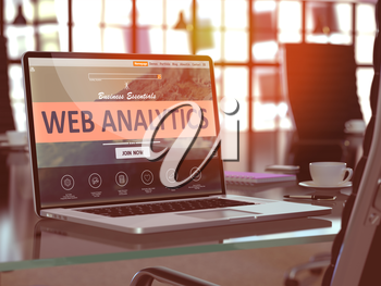 Web Analytics Concept. Closeup Landing Page on Laptop Screen  on background of Comfortable Working Place in Modern Office. Blurred, Toned Image. 3d Render.