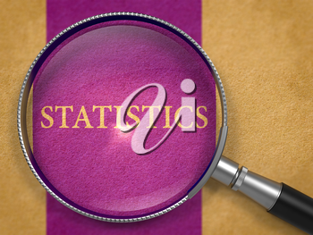 Statistics through Magnifying Glass on Old Paper with Dark Lilac Vertical Line Background. 3d Render.