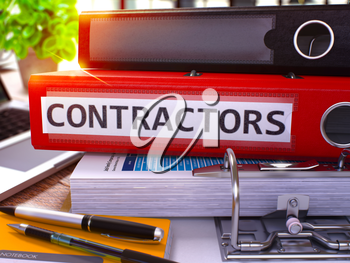 Red Office Folder with Inscription Contractors on Office Desktop with Office Supplies and Modern Laptop. Contractors Business Concept on Blurred Background. Contractors - Toned Image. 3D