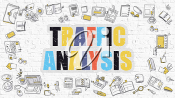 Traffic Analysis Concept. Modern Line Style Illustration. Multicolor Traffic Analysis Drawn on White Brick Wall. Doodle Icons. Doodle Design Style of Traffic Analysis Concept.