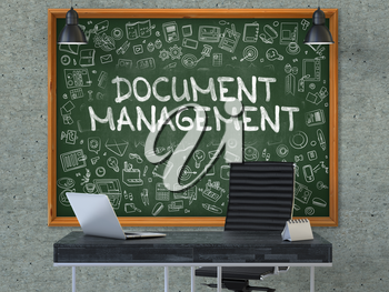 Hand Drawn Document Management on Green Chalkboard. Modern Office Interior . Gray Concrete Wall Background. Business Concept with Doodle Style Elements. 3D.