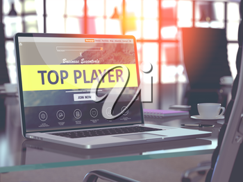 Top Player Concept. Closeup Landing Page on Laptop Screen  on background of Comfortable Working Place in Modern Office. Blurred, Toned Image. 3D Render.