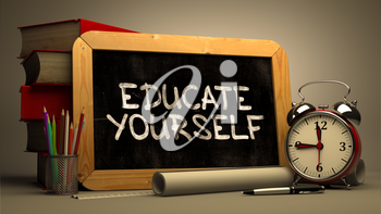Hand Drawn Educate Yourself Concept  on Chalkboard. Blurred Background. Toned Image. 3D Render.