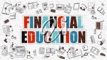Financial Education - Multicolor Concept with Doodle Icons Around on White Brick Wall Background. Modern Illustration with Elements of Doodle Design Style.