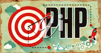 PHP - Hypertext Preprocessor - Word Drawn on Old Poster. Programming Concept in Flat Design.