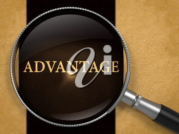Advantage through Magnifying Glass on Old Paper with Black Vertical Line Background. 3D Render.