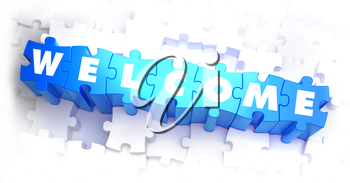 Welcome - White Word on Blue Puzzles on White Background. 3D Illustration.