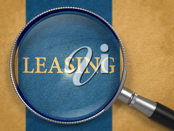 Leasing through Magnifying Glass on Old Paper with Dark Blue Vertical Line Background. 3D Render.