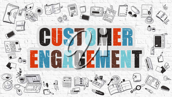 Customer Engagement. Multicolor Inscription on White Brick Wall with Doodle Icons Around. Customer Engagement Concept. Customer Engagement on White Brickwall Background.