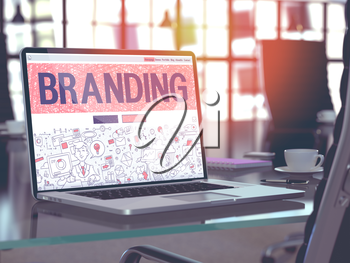 Branding - Closeup Landing Page in Doodle Design Style on Laptop Screen. On Background of Comfortable Working Place in Modern Office. Toned, Blurred Image. 3D Render.