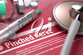 Pinched nerve - Medical Concept on Red Background with Blurred Text and Composition of Pills, Syringe and Stethoscope. 3D Render.