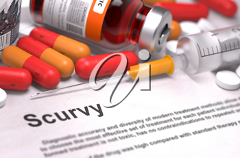 Scurvy - Printed Diagnosis with Red Pills, Injections and Syringe. Medical Concept with Selective Focus. 3D Render.