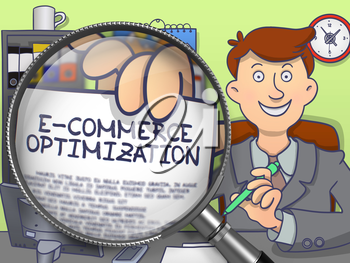 E-Commerce Optimization. Happy Man in Office Showing Paper with Concept through Magnifying Glass. Multicolor Doodle Illustration.