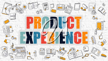 Product Experience Concept. Modern Line Style Illustration. Multicolor Product Experience Drawn on White Brick Wall. Doodle Icons. Doodle Design Style of  Product Experience  Concept.