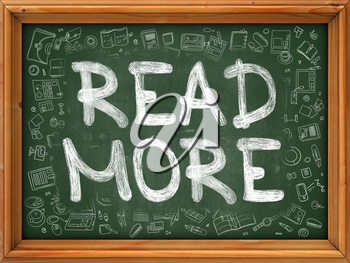 Read More Concept. Line Style Illustration. Read More Handwritten on Green Chalkboard with Doodle Icons Around. Doodle Design Style of  Read More.