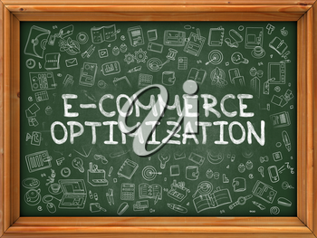 E-Commerce - Hand Drawn on Chalkboard.  E-Commerce with Doodle Icons Around.