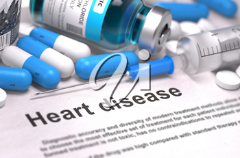 Heart Disease. Medical Concept with Blue Pills, Injections and Syringe. Selective Focus. Blurred Background. 3D Render.