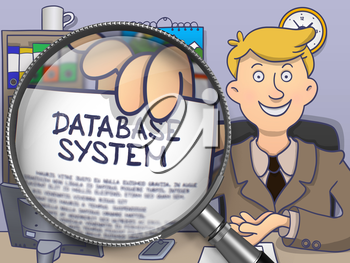 Database System. Business Man Showing a Paper with Concept through Lens. Colored Doodle Style Illustration.