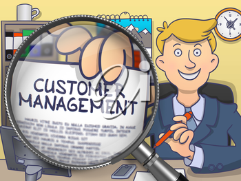 Customer Management on Paper in Businessman's Hand to Illustrate a Business Concept. Closeup View through Magnifying Glass. Colored Doodle Illustration.
