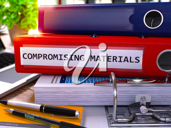 Compromising Materials - Red Office Folder on Background of Working Table with Stationery and Laptop. Compromising Materials Business Concept on Blurred Background. 3D Render.