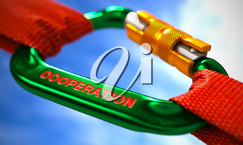 Red Ropes Connected by Green Carabiner Hook with Text Cooperation. Selective Focus. 3D Render.
