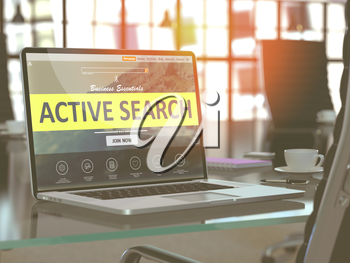 Active Search Concept Closeup on Laptop Screen in Modern Office Workplace. Toned Image with Selective Focus. 3D Render.