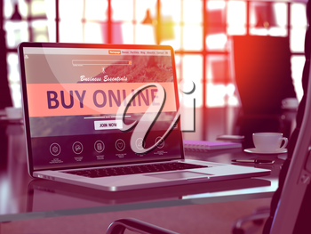 Buy Online Concept. Closeup Landing Page on Laptop Screen  on background of Comfortable Working Place in Modern Office. Blurred, Toned Image. 3D Render.