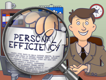 Personal Efficiency. Businessman Holding a Paper with Inscription through Magnifier. Multicolor Doodle Illustration.