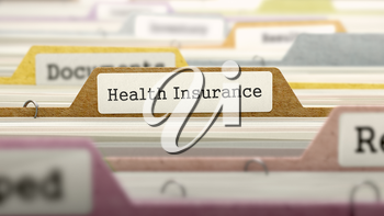 Folder in Colored Catalog Marked as Health Insurance Closeup View. Selective Focus. 3D Render.