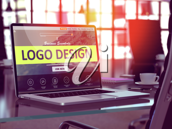 Modern Workplace with Laptop showing Landing Page with Logo Design Concept. Toned Image with Selective Focus. 3D Render.