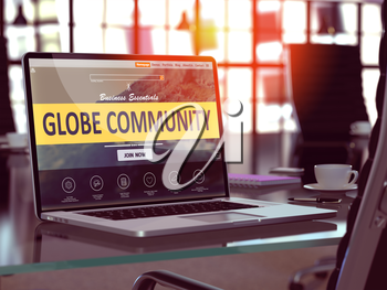 Globe Community Concept Closeup on Laptop Screen in Modern Office Workplace. Toned Image with Selective Focus. 3D Render.