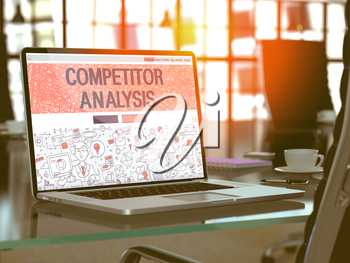 Competitor Analysis Concept Closeup on Landing Page of Laptop Screen in Modern Office Workplace. Toned Image with Selective Focus. 3D Render.