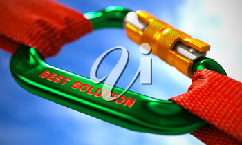 Green Carabiner between Red Ropes on Sky Background, Symbolizing the Best Solution. Selective Focus. 3D Render.