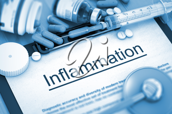 Inflammation - Medical Report with Composition of Medicaments - Pills, Injections and Syringe. Inflammation, Medical Concept with Pills, Injections and Syringe. 3D Render.