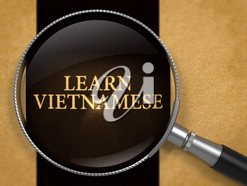 Learn Vietnamese through Magnifying Glass on Old Paper with Black Vertical Line Background. 3D Render.