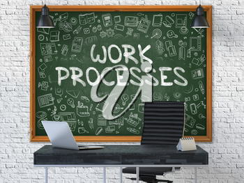 Hand Drawn Work Processes on Green Chalkboard. Modern Office Interior. White Brick Wall Background. Business Concept with Doodle Style Elements. 3D.