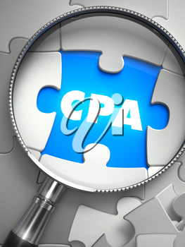 CPA - Cost Per Action - Puzzle with Missing Piece through Loupe. 3d Illustration with Selective Focus.