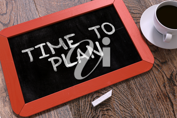 Time to Plan Concept Hand Drawn on Red Chalkboard on Wooden Table. Business Background. Top View. 3D Render.