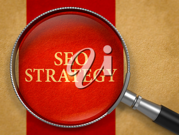 SEO - Search Engine Optimization - Strategy through Lens on Old Paper with Crimson Vertical Line Background. 3D Render.