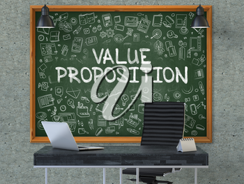 Value Proposition - Handwritten Inscription by Chalk on Green Chalkboard with Doodle Icons Around. Business Concept in the Interior of a Modern Office on the Gray Concrete Wall Background. 3D.