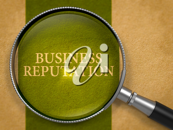 Business Reputation Concept through Magnifier on Old Paper with Dark Green Vertical Line Background. 3D Render.